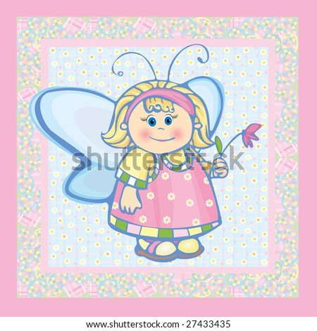 Card, small angel. - stock vector