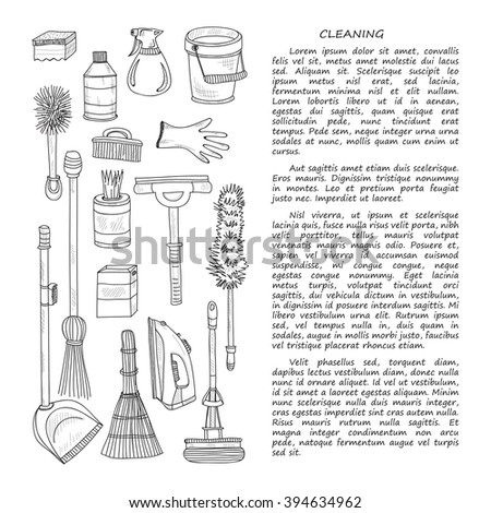 Card template with cute hand drawn house cleaning tools. Vector cleaning collection - stock vector