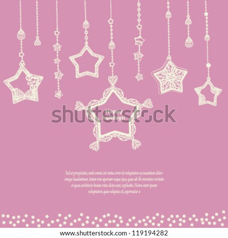Card template with cute hanging stars. Vector background. - stock vector