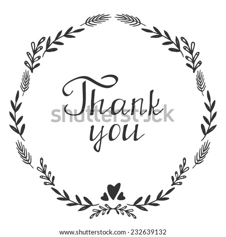 Card template with hand written Thank you text, Vector - stock vector