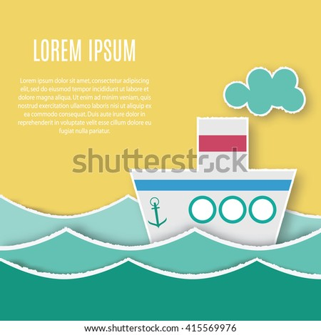 Card template with paper ship sailing in the sea waves with place for your text, logo, design and etc. Hand made application style> papercut ship. Paper cut postcard. Colorful papercut