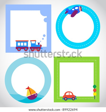 card templates with toy transportation - stock vector