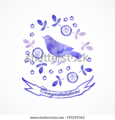 Card watercolor illustration with cute bird.  Illustration for greeting cards, invitations, and other printing projects.  - stock vector