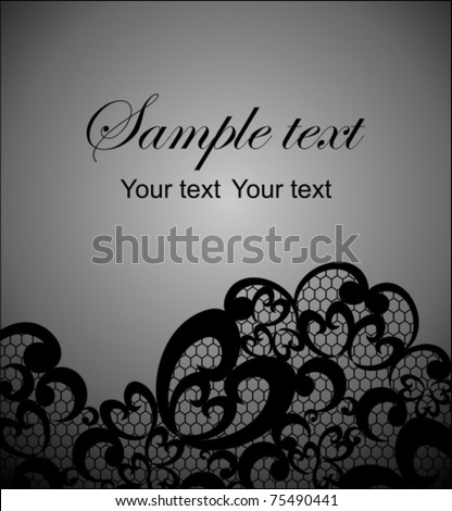 Card with a black lace - stock vector