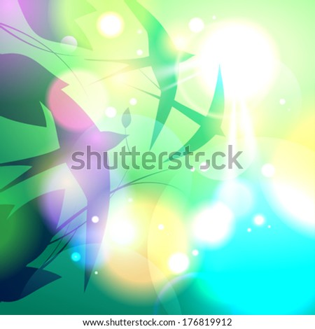 Card with a flock of swallows flying in the sky, vector Eps10 background. - stock vector