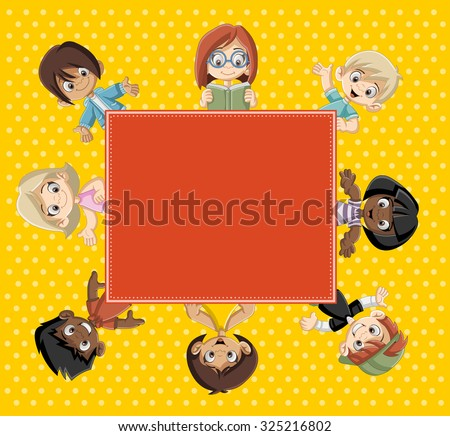 Card with a group of happy cartoon children. - stock vector