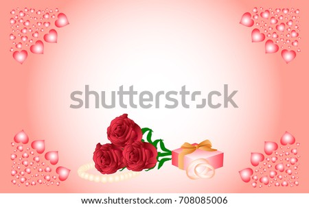 Card with a pink background and hearts in the corners, in the center of which are red roses, a pearl necklace, a gift and wedding rings.