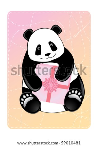 Card with a smiling panda holding a gift. Vector illustration.