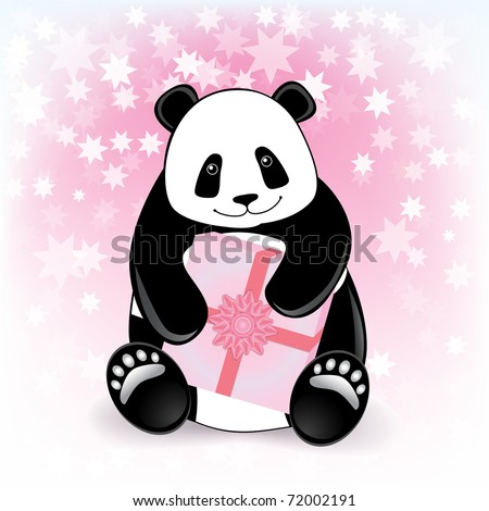 Card with a smiling panda holding a gift. Vector illustration. Eps.10