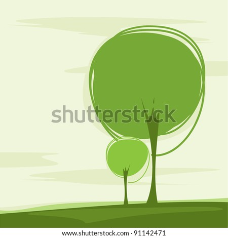 card with a stylized trees - stock vector