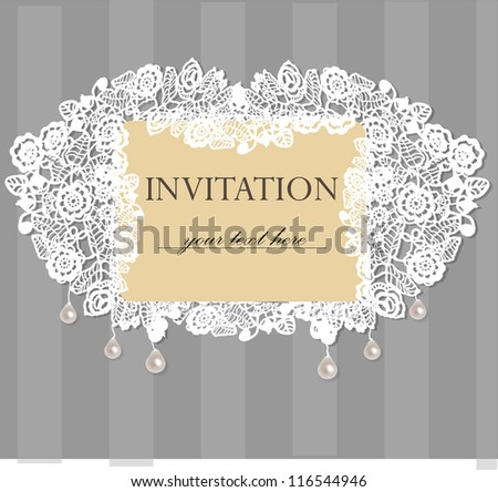 Card with a white lace. Floral Background. Vector greeting card. Wedding invitation. - stock vector