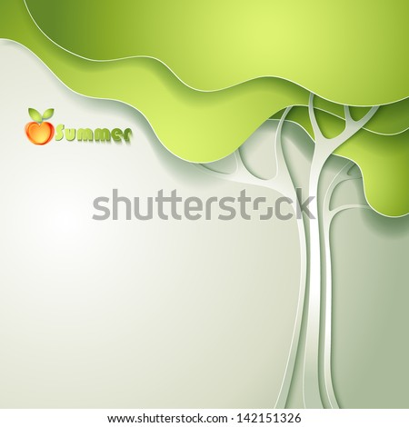 Card with abstract paper tree - stock vector