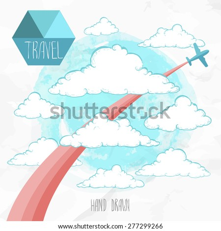 Card with airplane and colored trace flying through hand drawn sketch style clouds. Vector travel illustration.  - stock vector