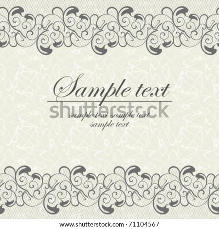 Card with an openwork lace - stock vector