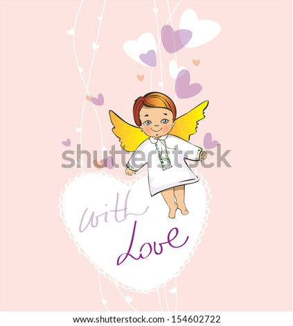 Card with angel  - stock vector