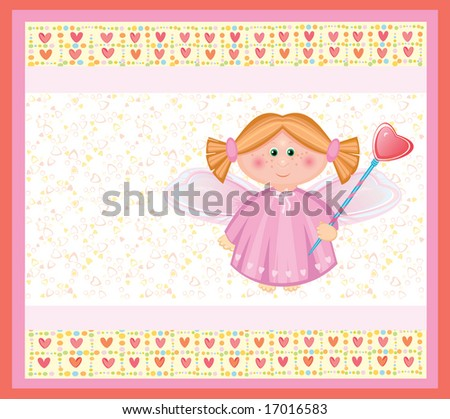 Card with angel. - stock vector