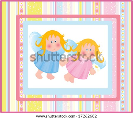 Card with angels. - stock vector