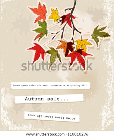 Card with autumn leaves 2. Vector illustration EPS10 - stock vector
