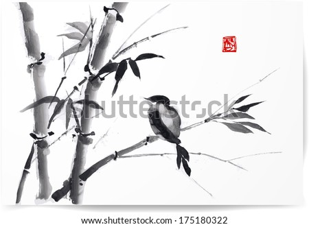 Card with bamboo and bird on white background in sumi-e style. Hand-drawn with ink. Vector illustration. Traditional Japanese painting