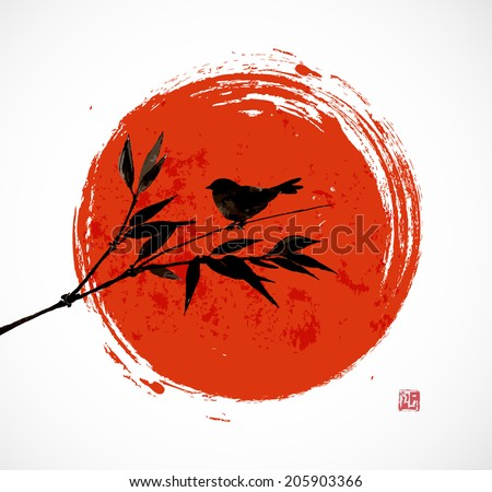 Card with bamboo bird and big red sun in sumi-e style. Hand-drawn with ink. Vector illustration. Traditional Japanese painting  - stock vector
