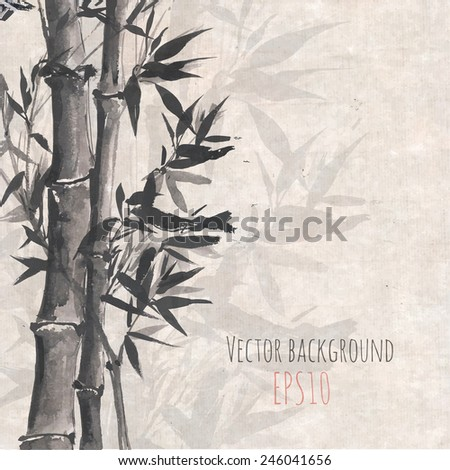 Card with bamboo on old rice paper in sumi-e style. Hand-drawn with ink. Vector illustration. Traditional Japanese painting. - stock vector