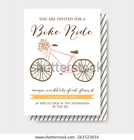 Card with bike. Vector illustration. Time for a bike ride. - stock vector