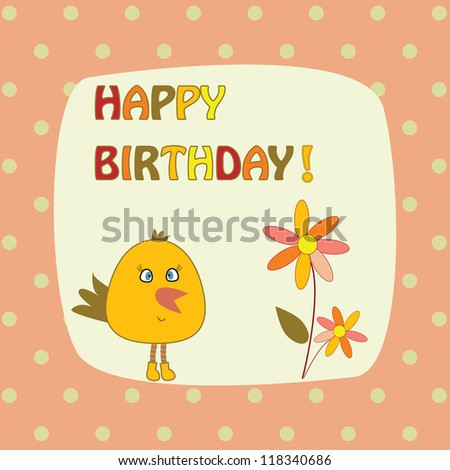 card with bird and flowers - stock vector