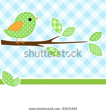 Card with bird on branch with textile background. - stock vector