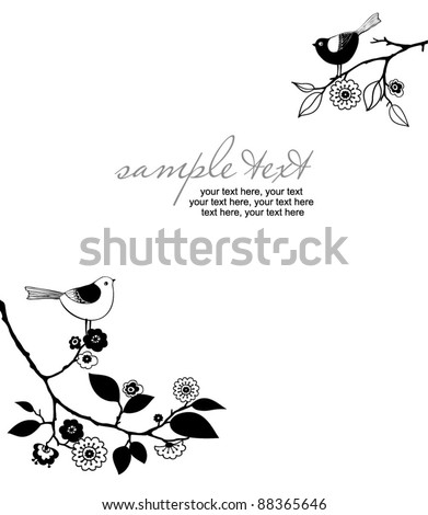 card with birds - invitation for party or wedding - stock vector