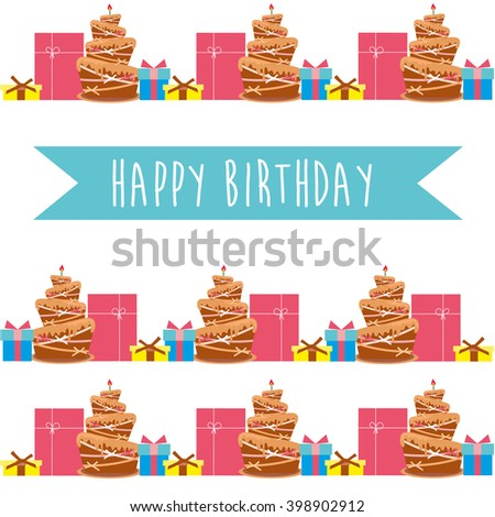 Card with birthday cake. Vector Illustration
