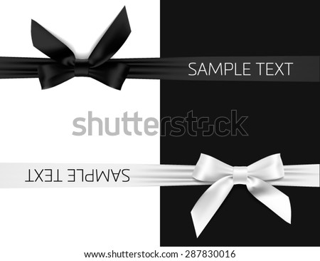 card with black and white bow - stock vector
