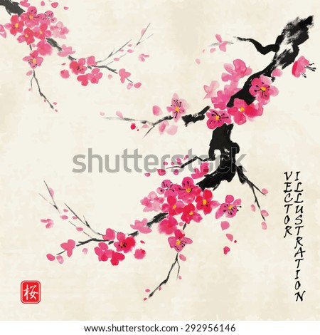 "Card with blossoming oriental cherry branch in traditional japanese sumi-e style on vintage watercolor background. Hieroglyph ""sakura"". - stock vector"