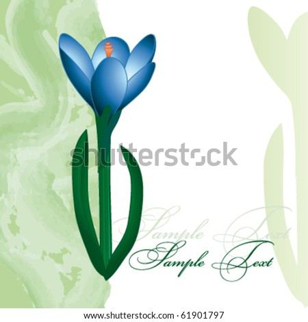 Card with blue flower - stock vector