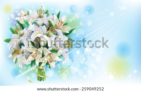 Card with Bouquet of  white lilies - stock vector