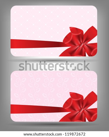 Card with bow and ribbon. Vector illustration - stock vector