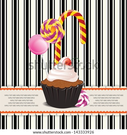 card with candy and cupcake - stock vector