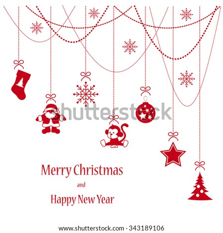 Card with Christmas elements hanging red isolated background