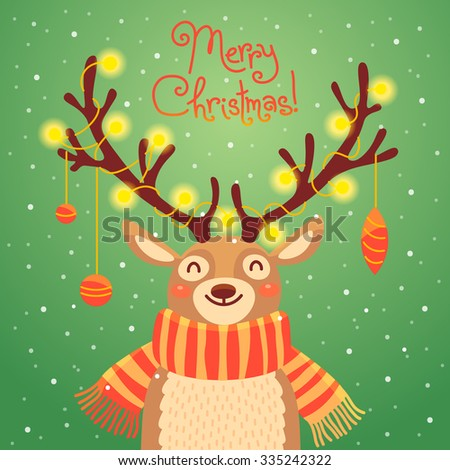 Card with christmas santa reindeer. Cute cartoon deer with garlands on the horns and scarf.  Vector illustration - stock vector