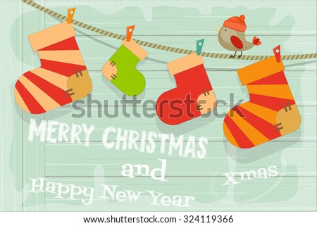 Card with Christmas Socks on Rustic Wooden Background. Vector Illustration. - stock vector