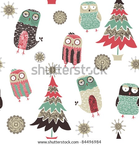 card with christmas tree and birds - stock vector