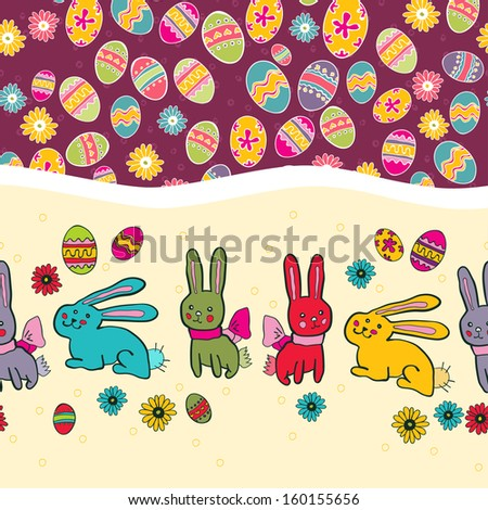 Card with colorful Easter eggs and Bunny. Easter seamless border with rabbit - stock vector