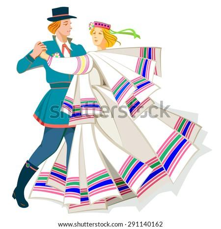 Card with couple dancing Baltic folk dance, vector cartoon image. - stock vector