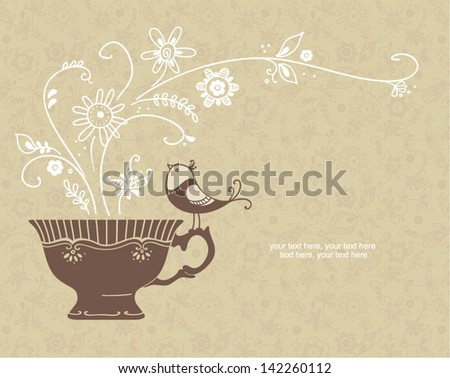 card with cup and bird