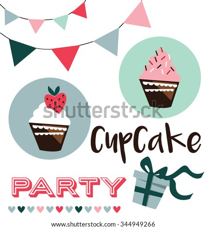 Card with cup cake, vector illustration - stock vector