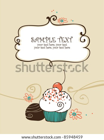 card with cupcake - stock vector