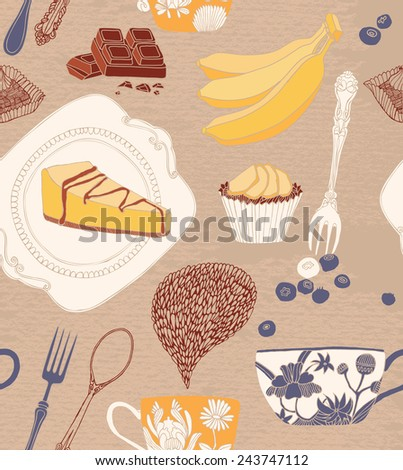 card with cupcakes, tea and fruits. - stock vector