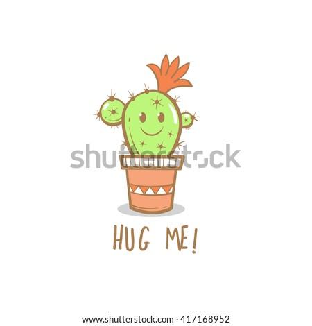 Card with cute cartoon cactus. Hug me. Vector image. - stock vector