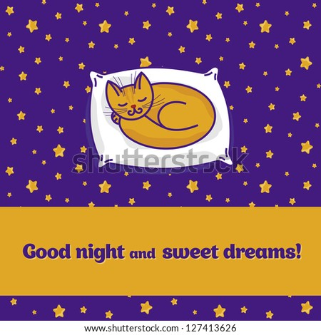 Card with cute little cat sleeping on pillow and dreaming of fish - stock vector