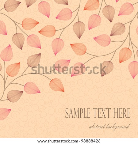 card with decoration of leaves on a light background with swirls - stock vector