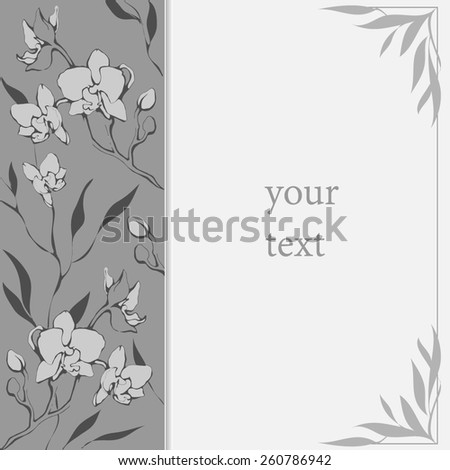 Card with delicate orchids. vector illustration - stock vector